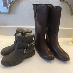 Lovely Girls Long Black Boots Knee High Boots With Faux Fur Trim Size 2 BNWT